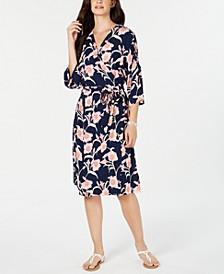 Juniors' Floral-Print Kimono Wrap Dress