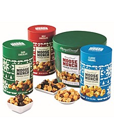 Moose Munch Gourmet Popcorn Holiday Canister Collection