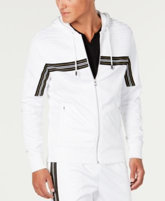 INC Men's Chest Stripe Zip-Front Hoodie, Created for Macy's