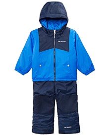 Toddler Boys & Girls Double Flake Reversible Hooded Jacket & Bib Set