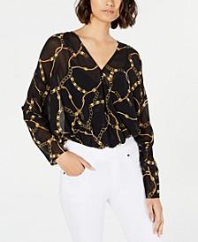 Leopard-Print Dolman-Sleeve Bodysuit