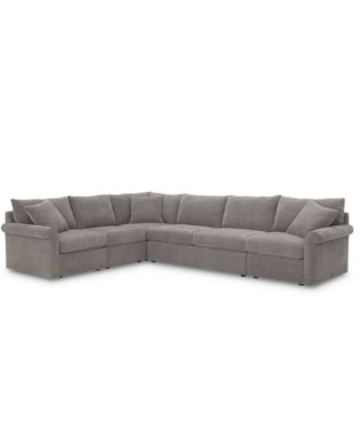 "Wedport 5-Pc. Fabric ""L"" Shape Modular Sectional Sofa with Square Corner Piece and Armless Apartment Sofa, Created for Macy's"