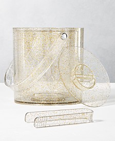 The Cellar Holiday Sayings Glitter Ice Bucket & Tongs