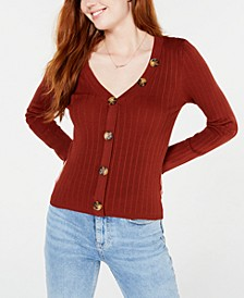 Juniors' Ribbed Cropped Buttoned Sweater