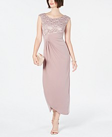 Lace & Solid Faux-Wrap Gown