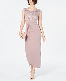 Connected Lace & Solid Faux-Wrap Gown