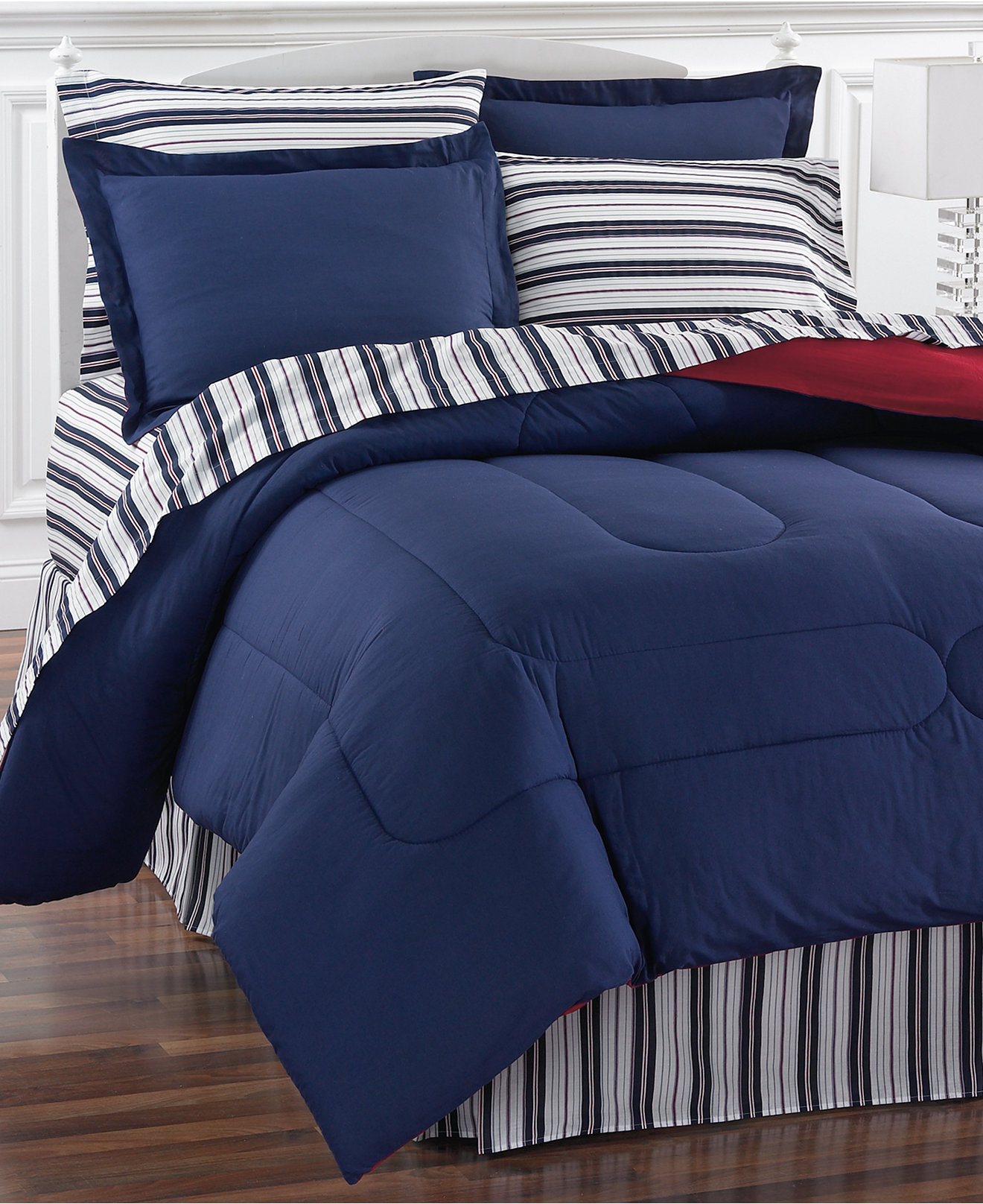 Blue bedspreads and comforters - Navy Yard Reversible Bedding Ensembles Only At Macy S Bed In A Bag Bed Bath Macy S