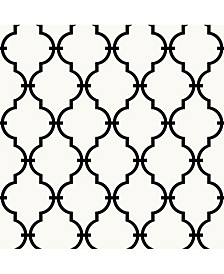 Modern Trellis Black Peel and Stick Wallpaper