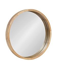 """Hutton Round Wood Wall Mirror - 22"""" D"""