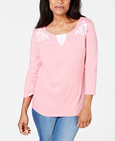 Petite Embroidered Cotton Layered-Look Top, Created For Macy's