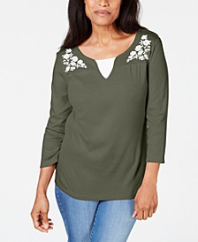 Embroidered Cotton Layered-Look Top, Created for Macy's