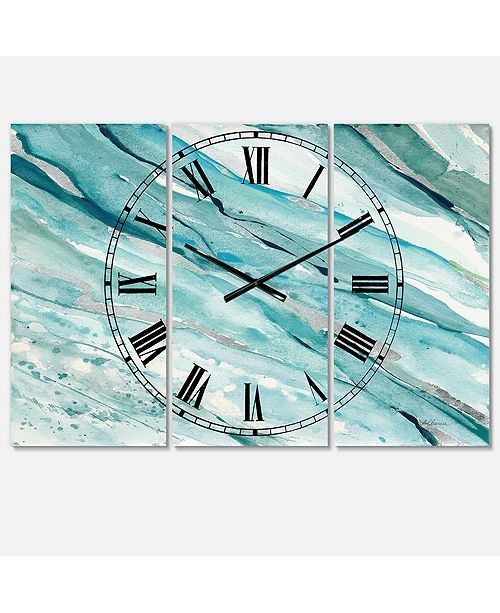 Designart Nautical and Coastal 3 Panels Metal Wall Clock