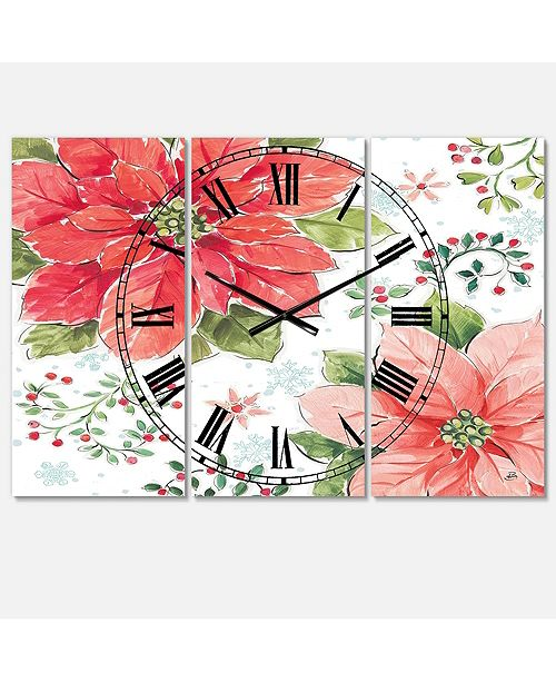 Designart Traditional 3 Panels Metal Wall Clock