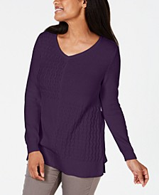 Cotton Mixed-Stitch Sweater, Created for Macy's