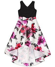 Big Girls Plus Floral-Print High-Low Hem Dress