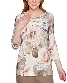 Petite Boardroom Rose-Print Lattice-Neck Top