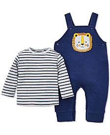 Baby Boys 2-Pc. Striped T-Shirt & Lion Overalls Set