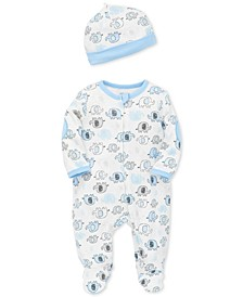 Baby Boys Elephant-Print Footed Cotton Coverall & Hat