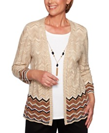 Alfred Dunner Petite Street Smart Layered-Look ZigZag-Border Sweater