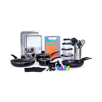 Sedona Kitchen-In-A-Box 64-Pieces Cookware & Food Storage Set