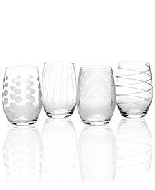 Glassware, Set of 4 Cheers Stemless Wine Glasses