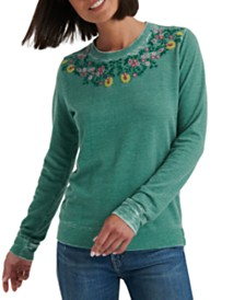 Lucky Brand Necklace Embroidery Top