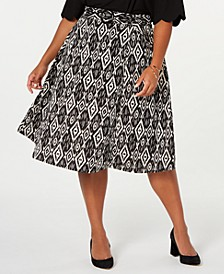 Trendy Plus Size Belted Midi Skirt