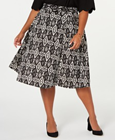Monteau Trendy Plus Size Belted Midi Skirt