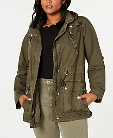 Levi's®Trendy Plus Size Lightweight Parachute Cotton Hooded Fishtail Jacket
