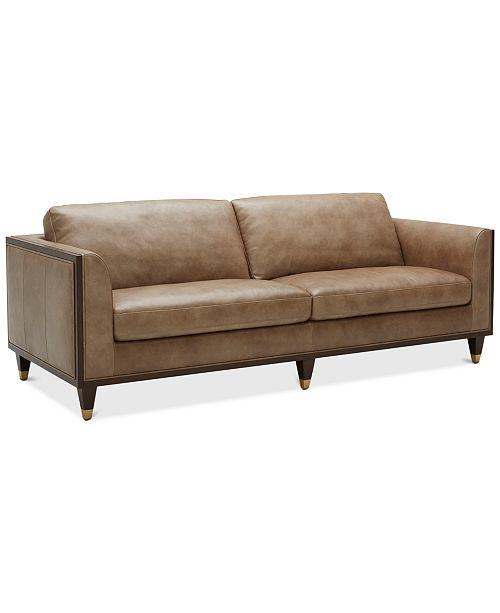 "Furniture Reavere 89"" Leather Sofa"