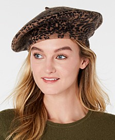 INC Leopard-Print Beret, Created for Macy's