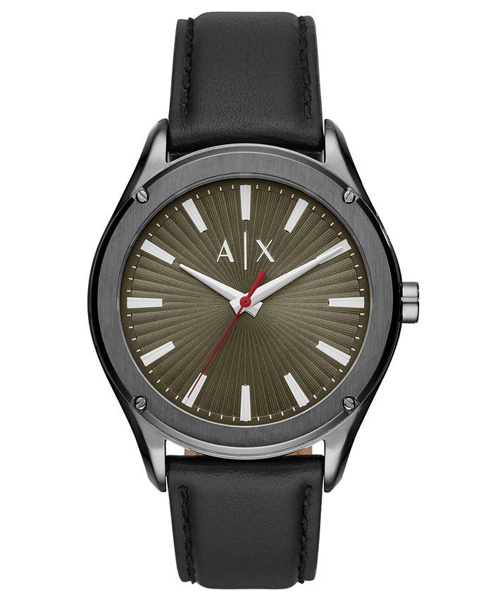 A X Armani Exchange - Men's Fitz Black Leather Strap Watch 44mm