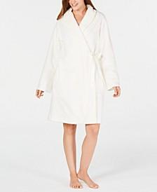 Layered-Collar Fleece Short Robe, Created for Macy's