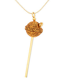 SIS by Simone I Smith 18k Gold over Sterling Silver Necklace, Medium Yellow Crystal Lollipop Pendant