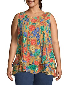 Sleeveless Floral Top, Plus Size