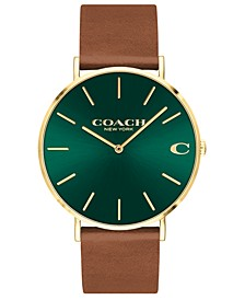 Men's Charles Saddle Leather Strap Watch 41mm