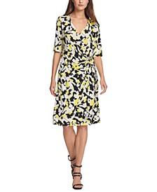 Faux-Wrap Elbow-Sleeve Dress