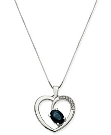 "Sapphire (1 ct. t.w.) & Diamond (1/20 ct. t.w.) Heart 18"" Pendant Necklace in 14k White Gold"