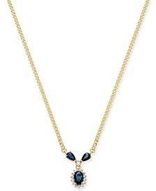 "Sapphire (1-1/5 ct. t.w.) & Diamond (1/6 ct. t.w.) 16"" Pendant Necklace in 14k Gold"