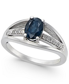 Sapphire (1 ct. t.w.) & Diamond (1/10 ct. t.w.) Ring in 14k White Gold
