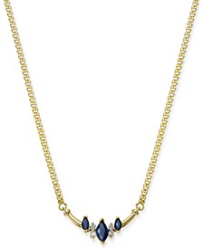 "Sapphire (5/8 ct. t.w.) & Diamond (1/20 ct. t.w.) Curved Bar 16"" Pendant Necklace in 14k Gold"