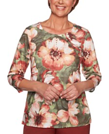 Alfred Dunner Cedar Canyon Embellished Floral-Print Knit Top