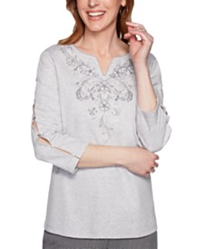 Alfred Dunner Boardroom Split-Neck Embroidered Top