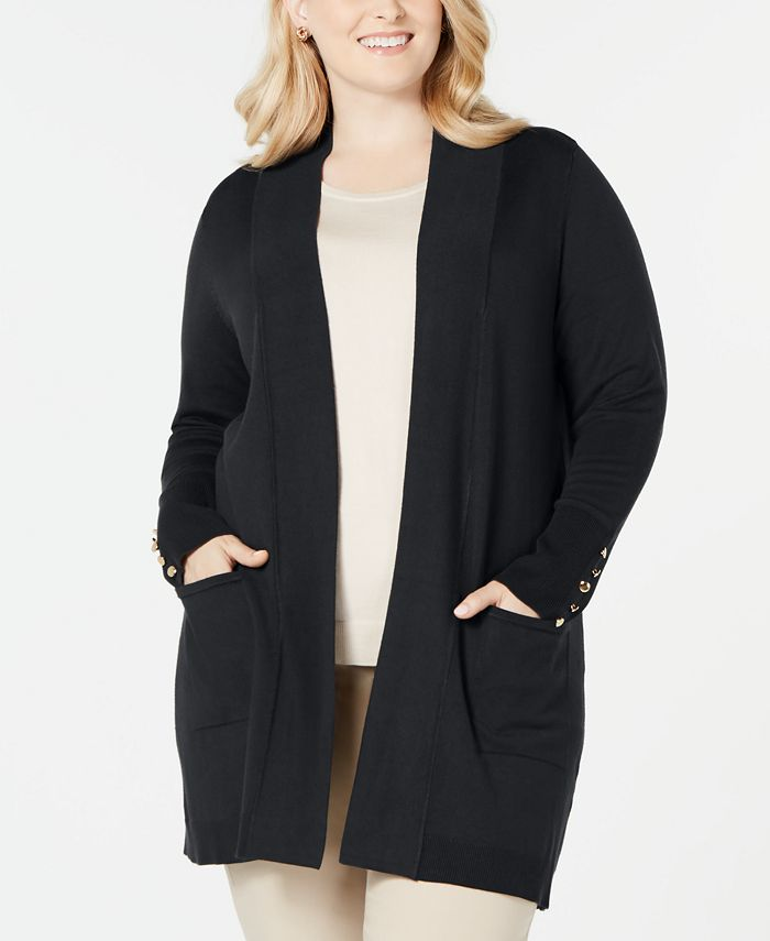 JM Collection - Plus Size Button-Sleeve Flyaway Cardigan Sweater