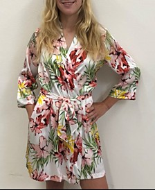 Wedding Prep Gals Tropical Floral Robe, Online Only