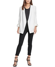 DKNY Open-Front Roll-Tab Jacket