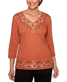 Alfred Dunner Street Smart Embroidered Knit Top
