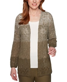 Alfred Dunner Cedar Canyon Ombré Pointelle Cardigan Sweater