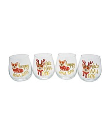 """Felic Namdog"" Set of 4 Stemless Wine Glasses"