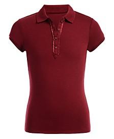 Big Girls School Uniform Ruffle Button Placket Polo
